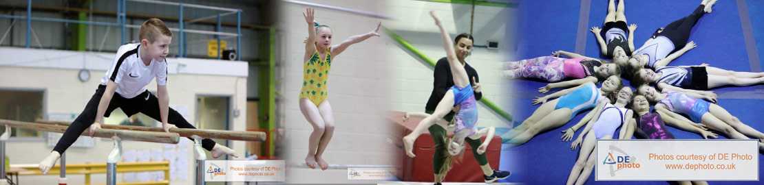 Collage of general gymnastics